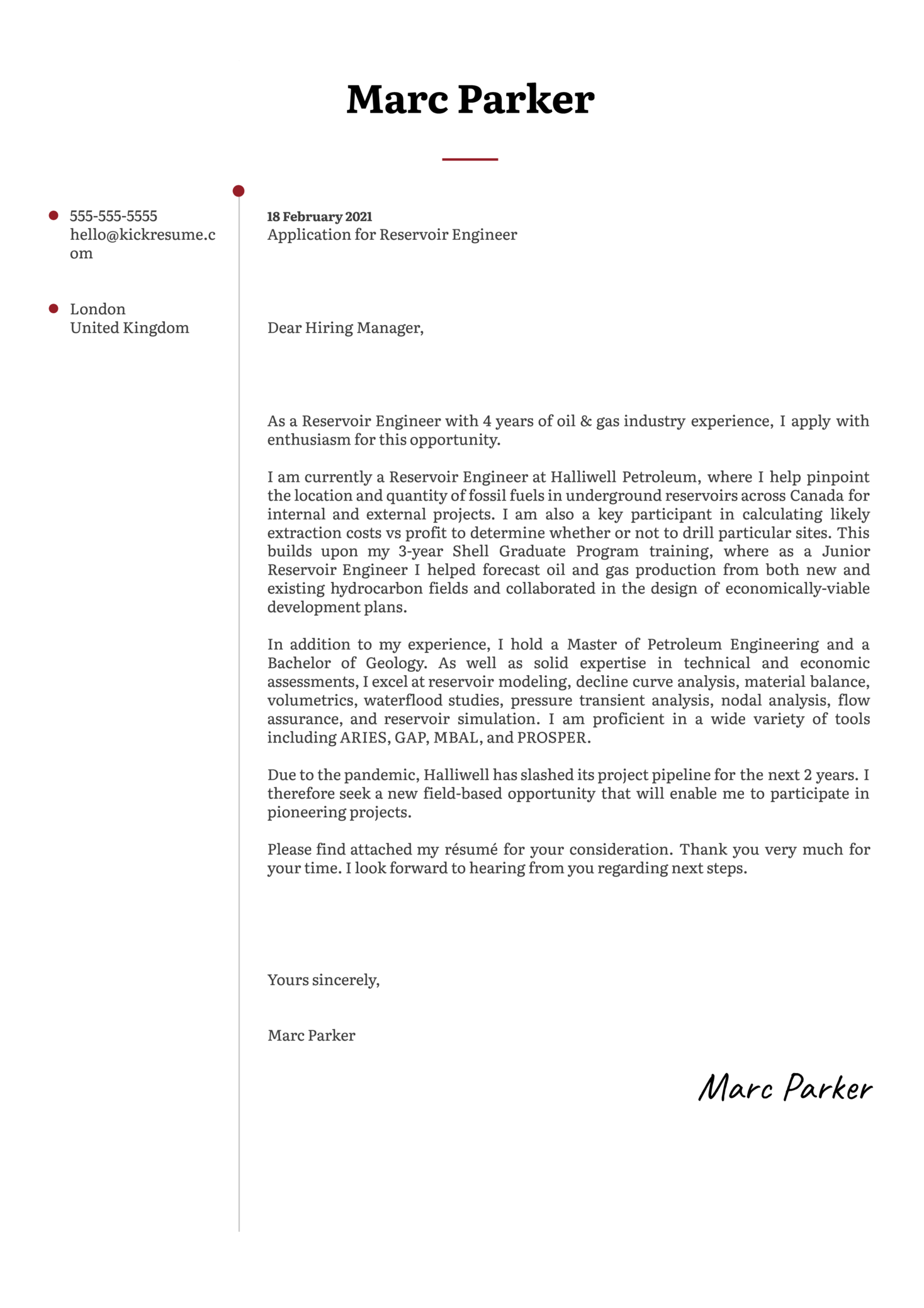 Reservoir Engineer Cover Letter Template