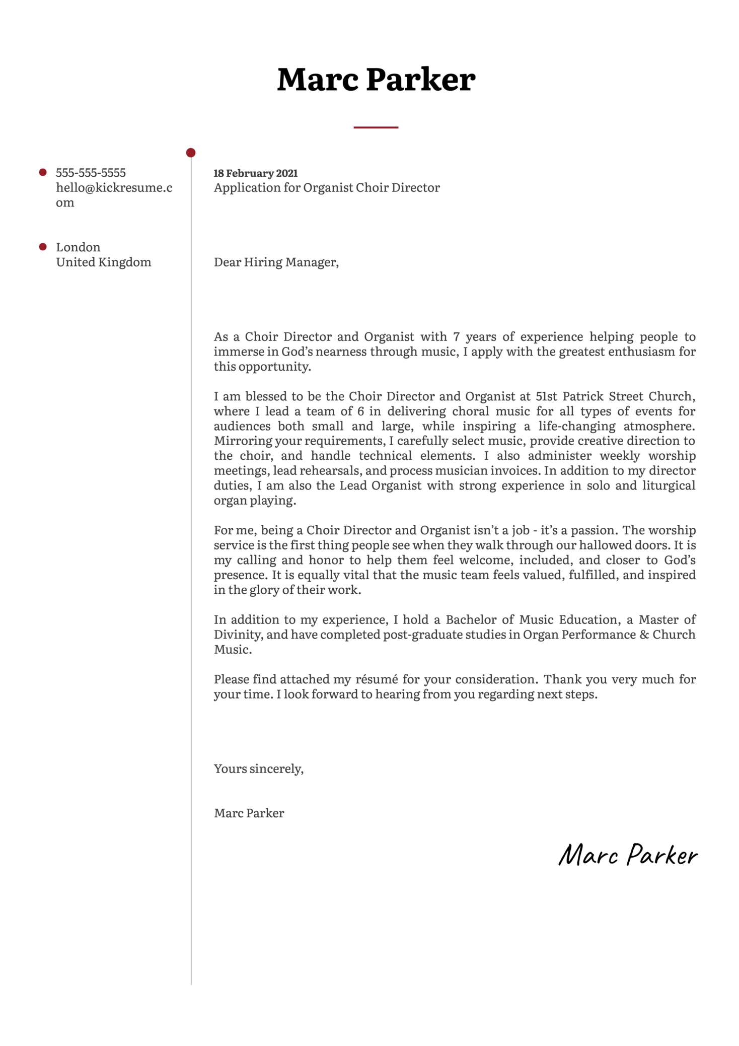 Organist Choir Director Cover Letter Example