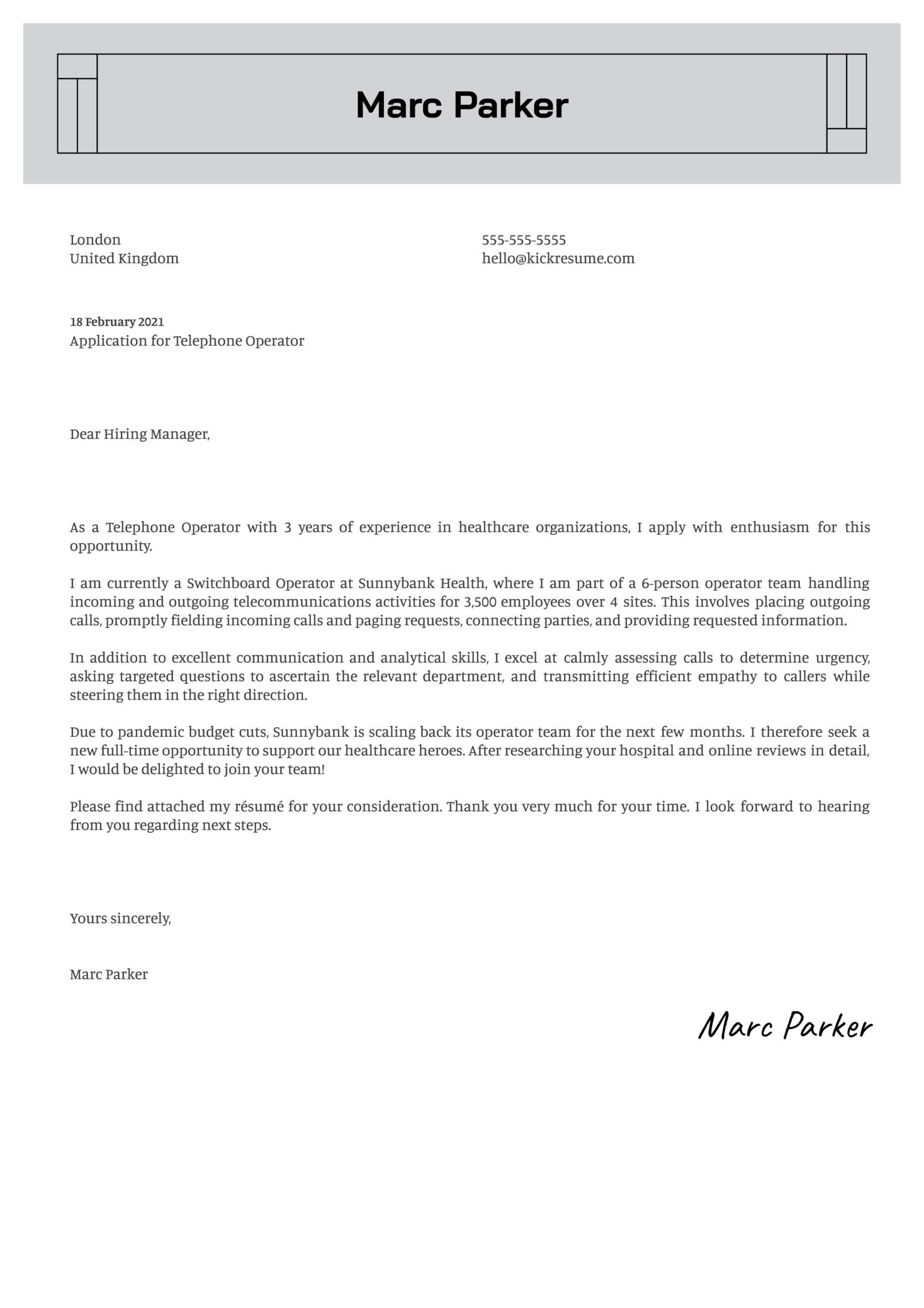 Telephone Operator Cover Letter Sample