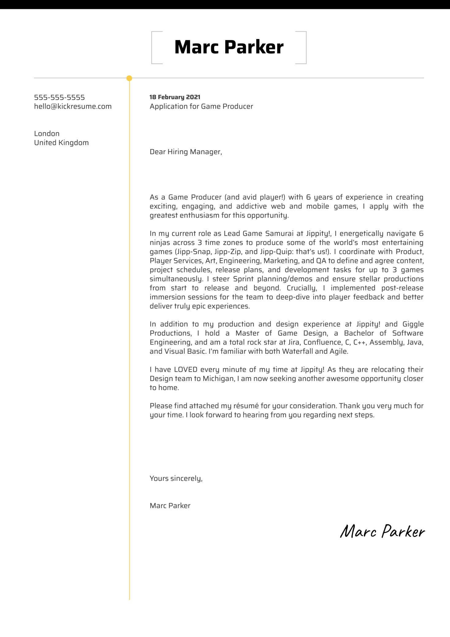 Game Producer Cover Letter Sample