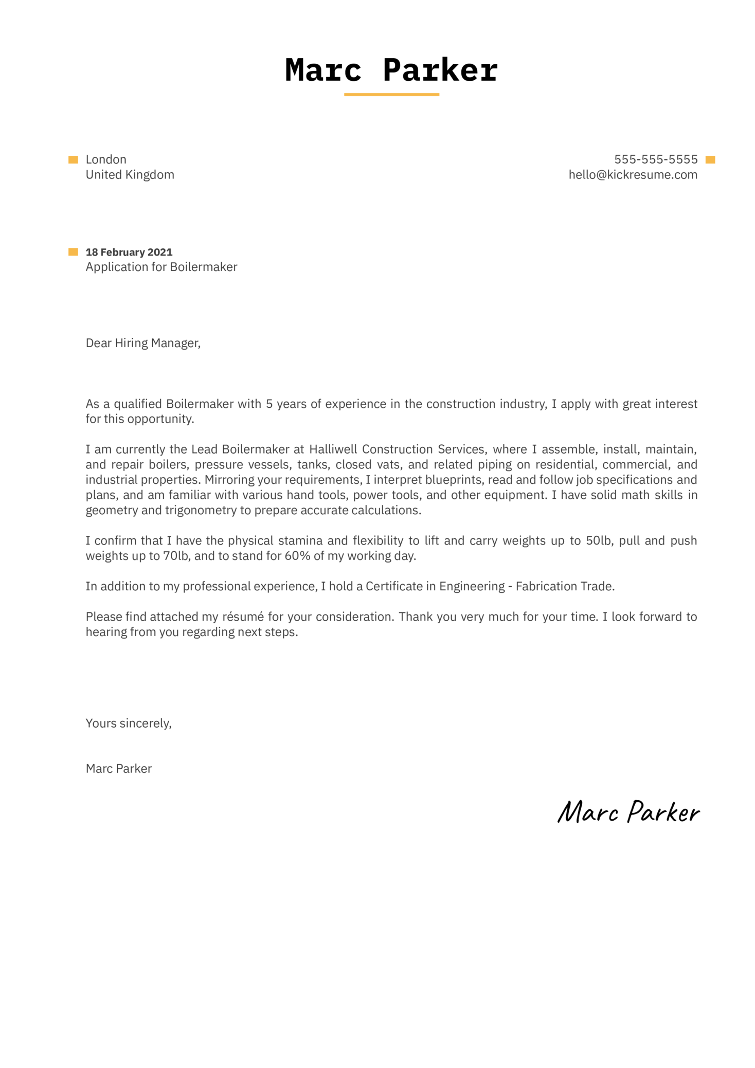 Boilermaker Cover Letter Sample