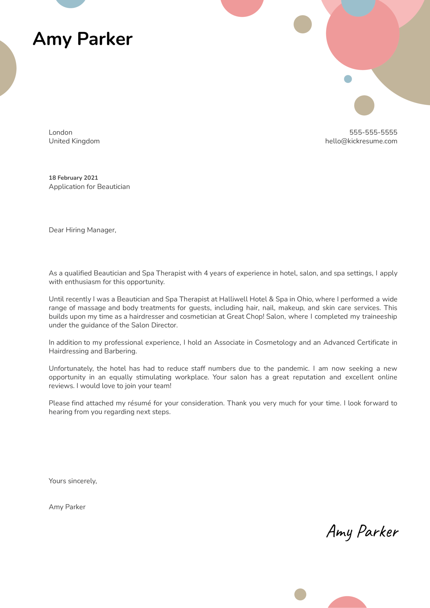 Beautician Cover Letter Sample
