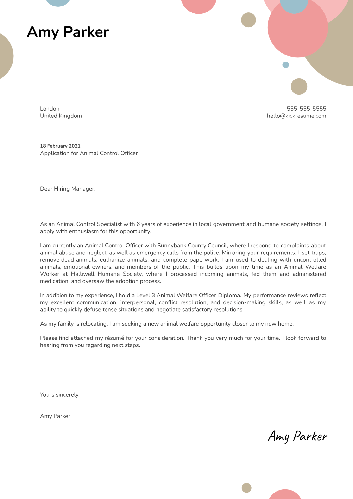 Animal Control Officer Cover Letter Template