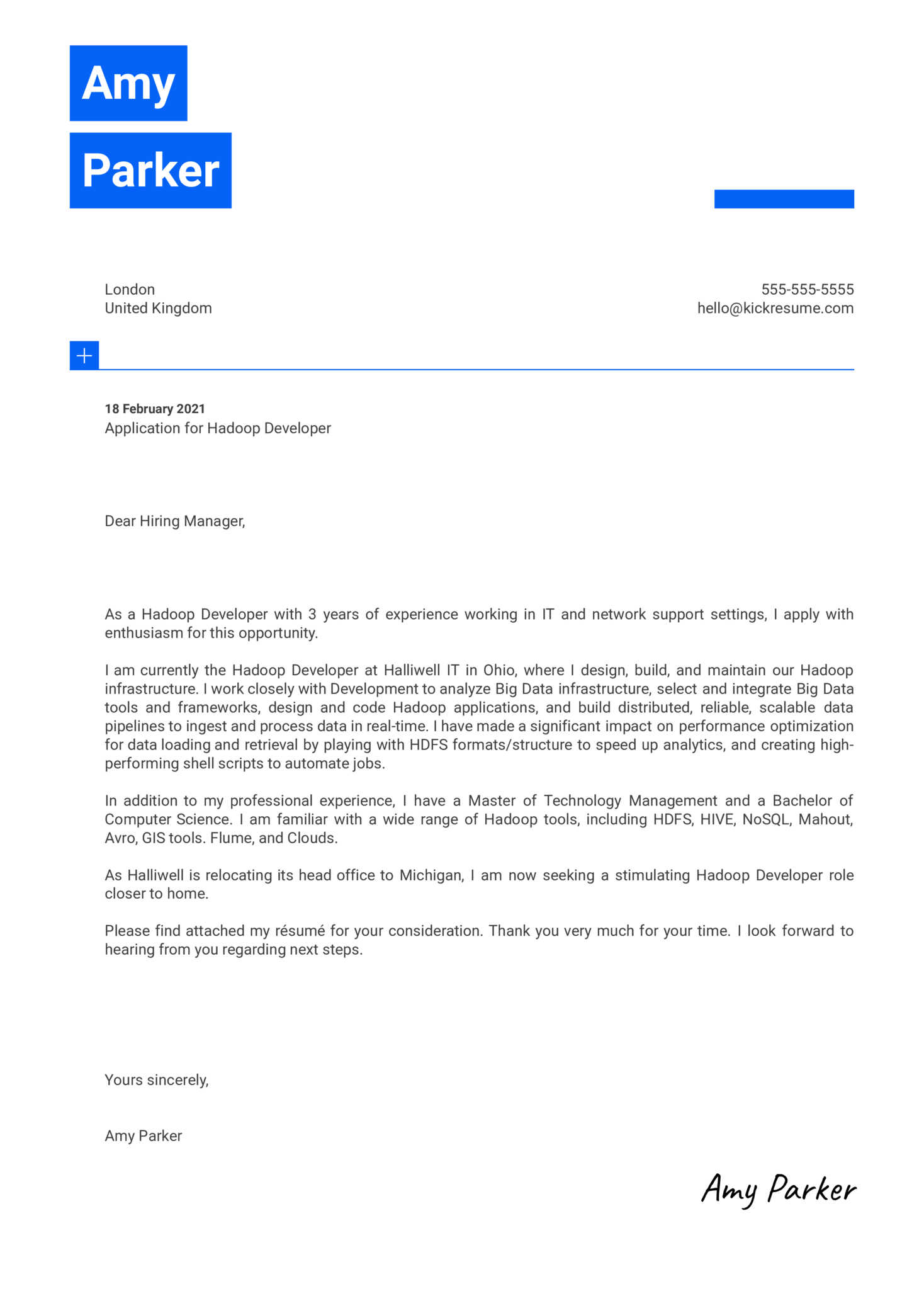 Hadoop Developer Cover Letter Template