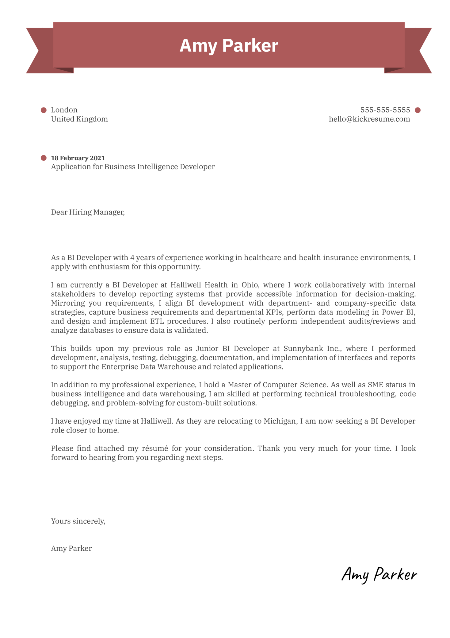 Business Intelligence Developer Cover Letter Sample
