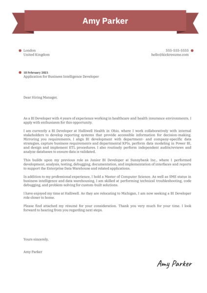 Business Intelligence Developer Cover Letter Sample