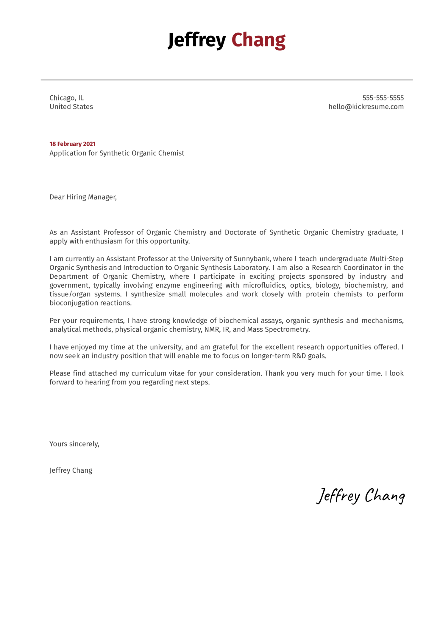 Synthetic Organic Chemist Cover Letter Example