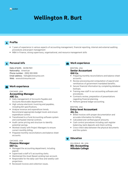 Manager Accountant Resume Sample