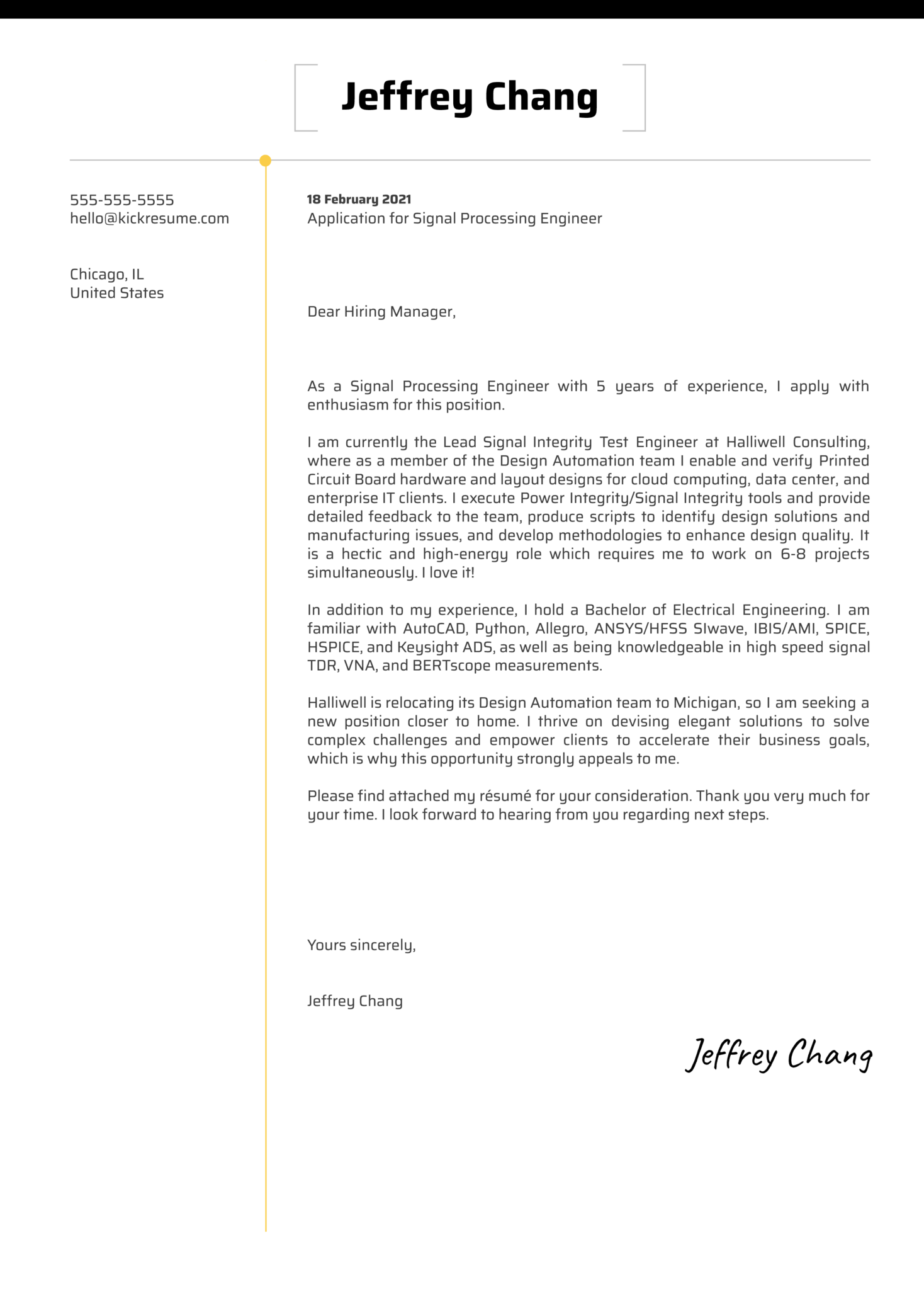 Signal Processing Engineer Cover Letter Sample