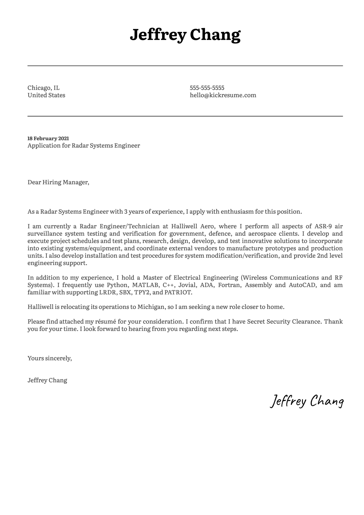 Radar Systems Engineer Cover Letter Template