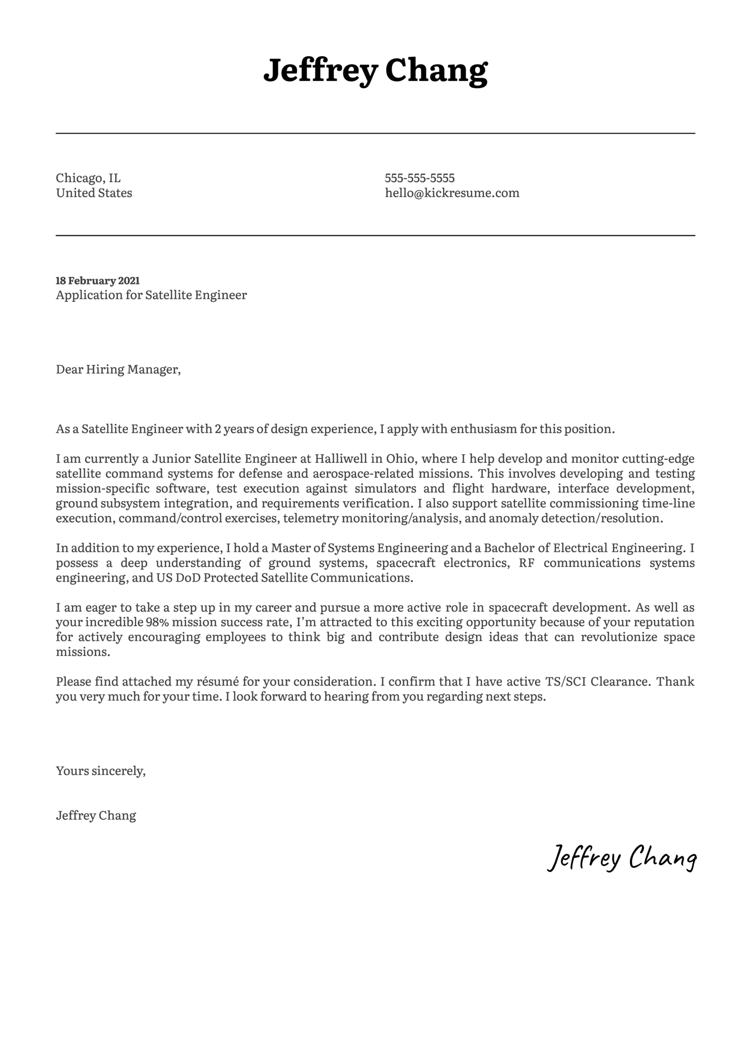 Satellite Engineer Cover Letter Example