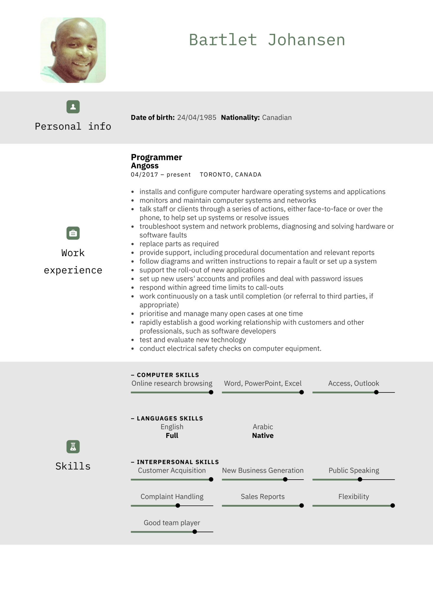 IBM IT Support Specialist Resume Example (parte 1)