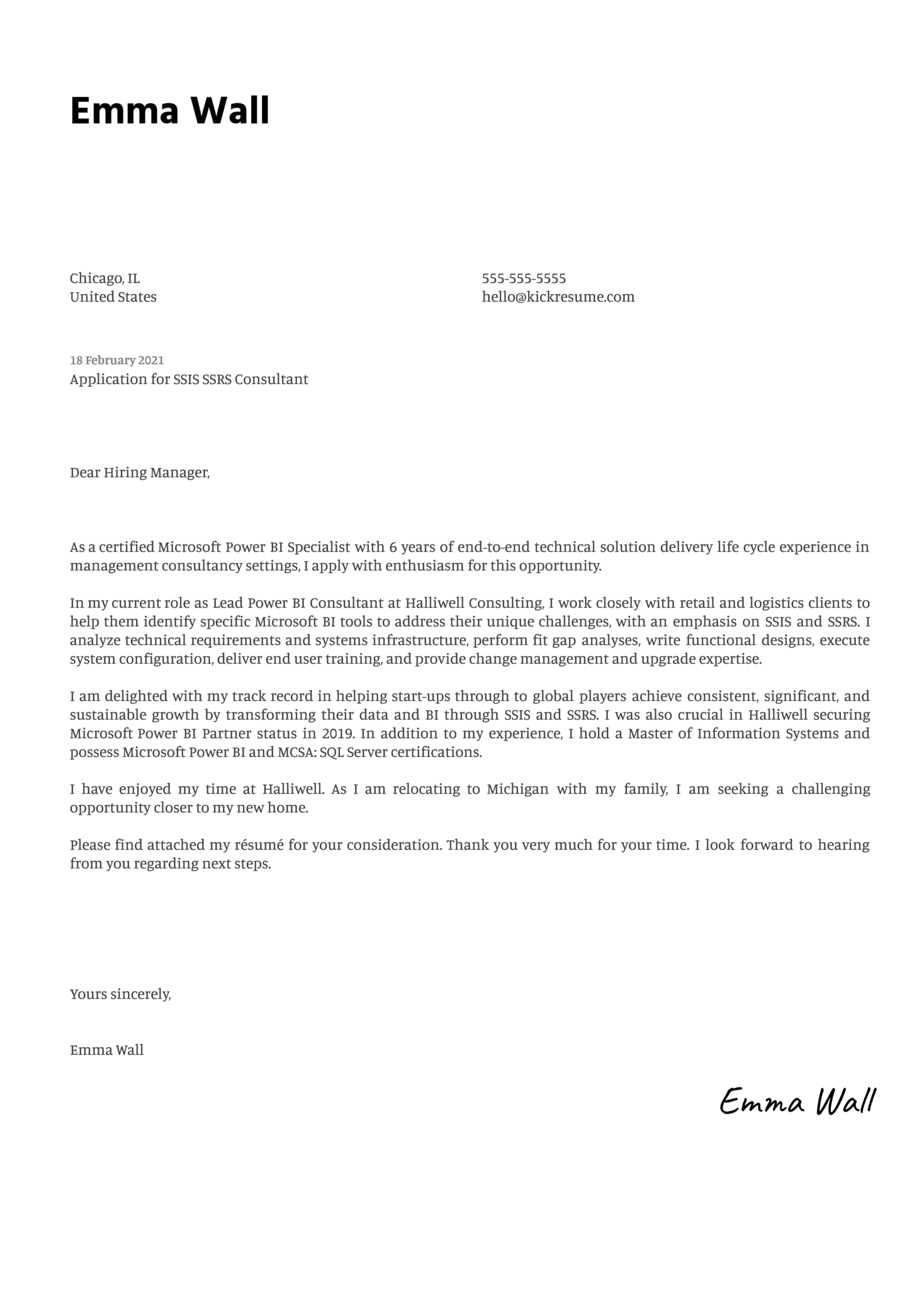 SSIS SSRS Consultant Cover Letter Sample
