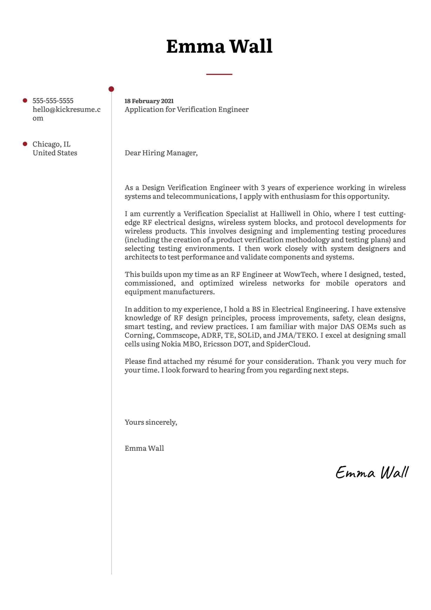 Verification Engineer Cover Letter Example