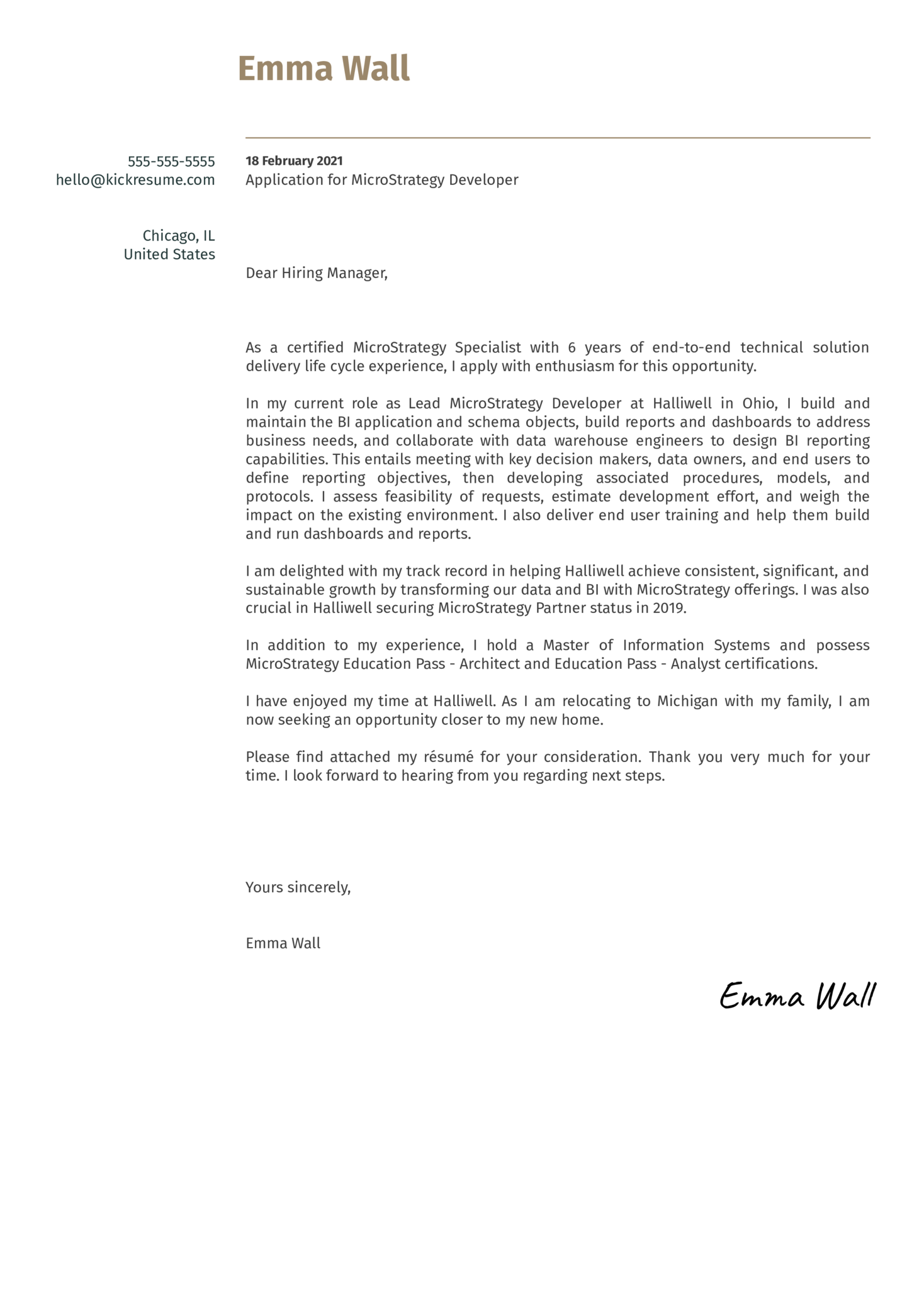 MicroStrategy Developer Cover Letter Sample