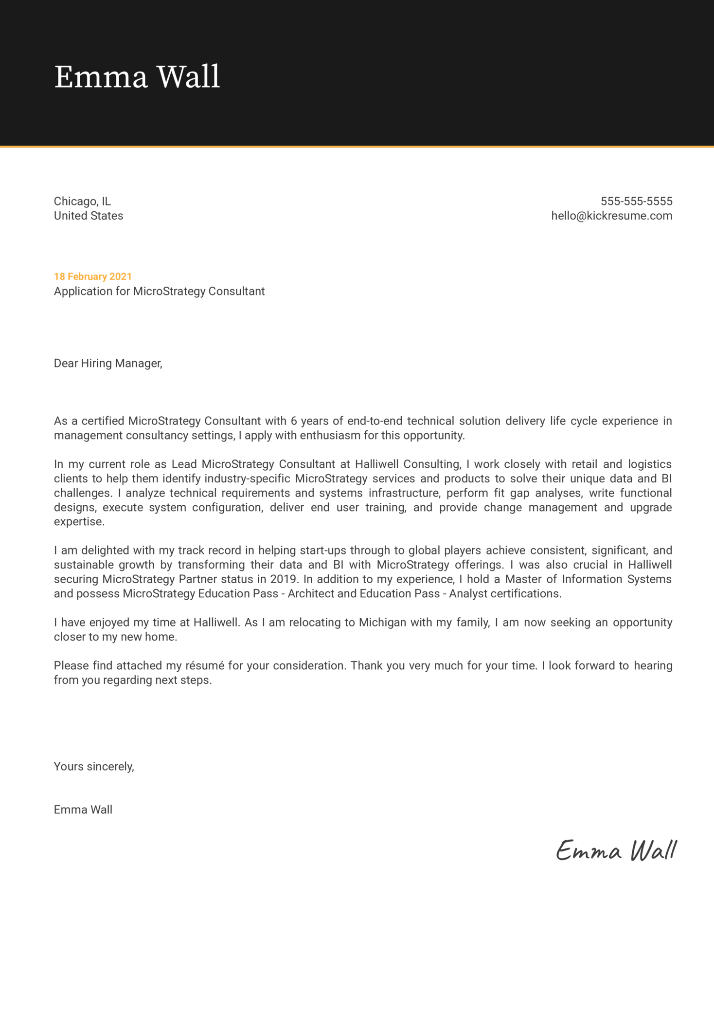 MicroStrategy Consultant Cover Letter Example