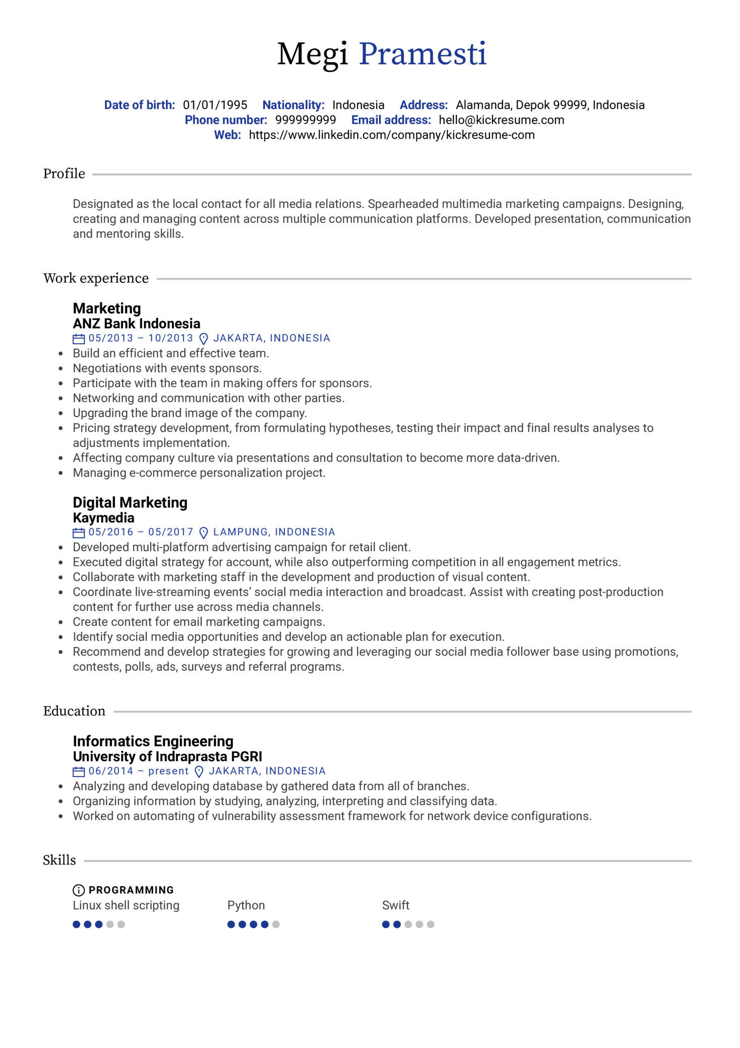 resume examples by real people  digital marketing resume sample