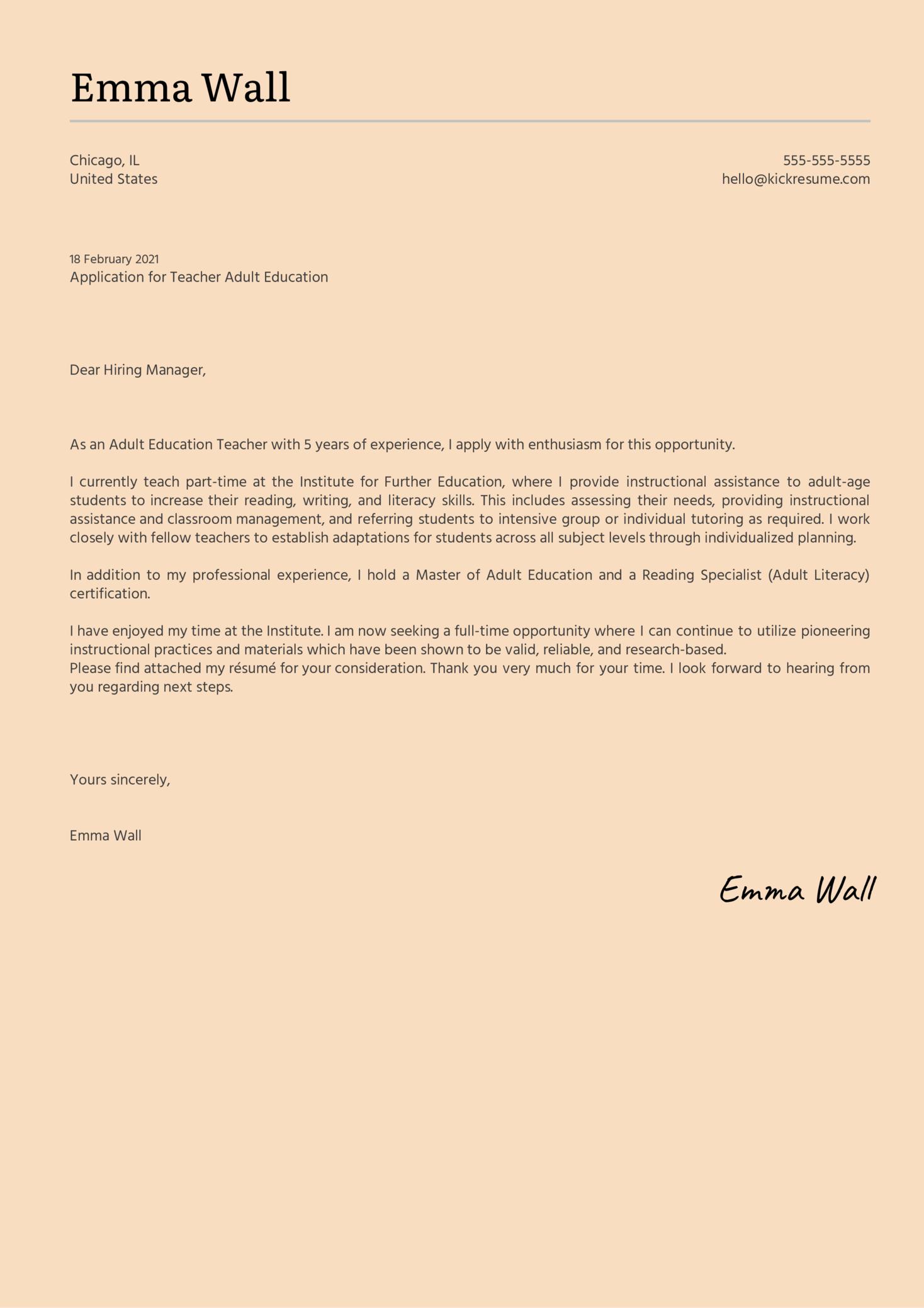 Teacher Adult Education Cover Letter Sample
