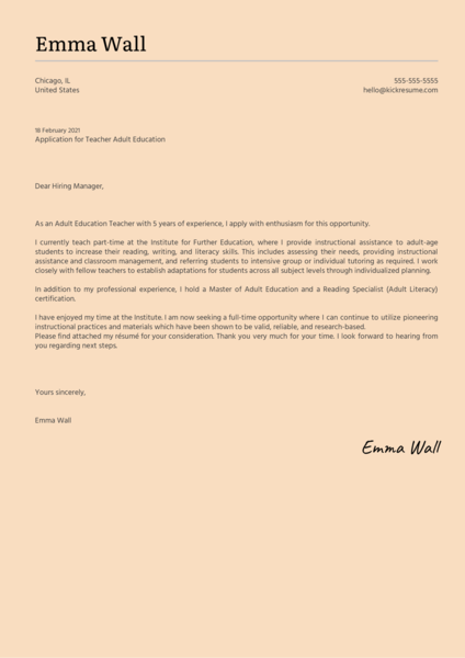 Teacher Adult Education Cover Letter Sample