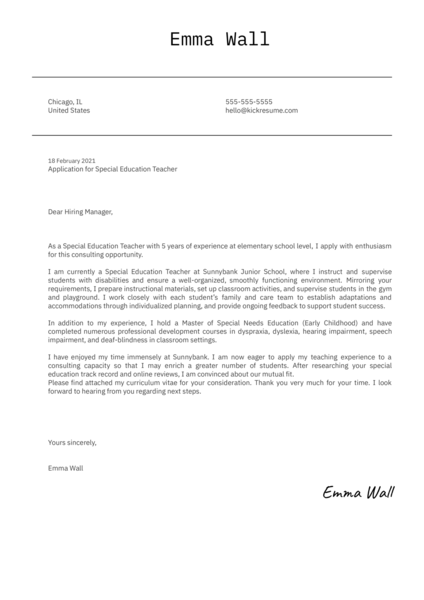 Special Education Teacher Cover Letter Template