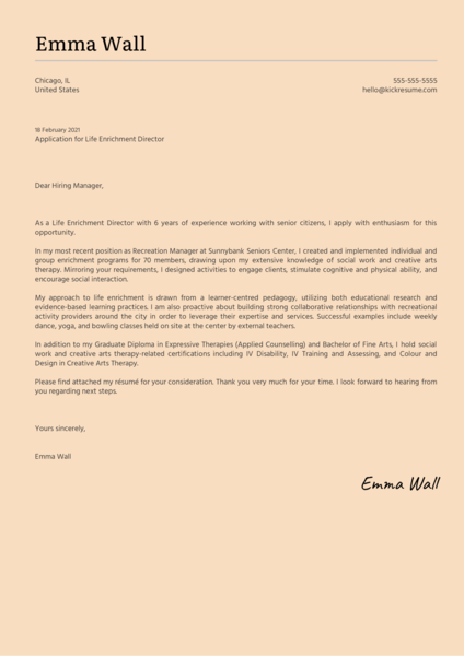 Life Enrichment Director Cover Letter Example
