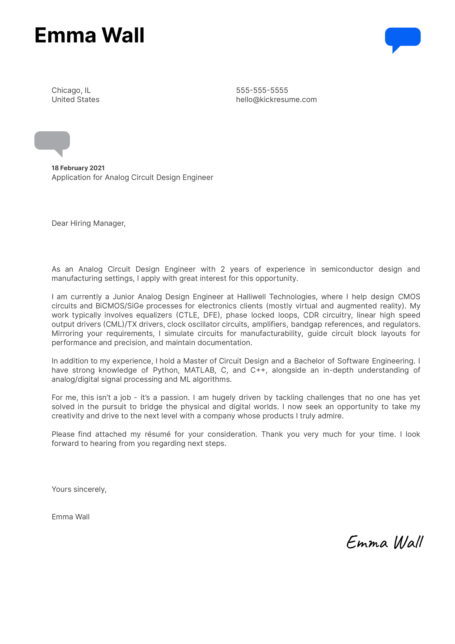 Analog Circuit Design Engineer Cover Letter Sample