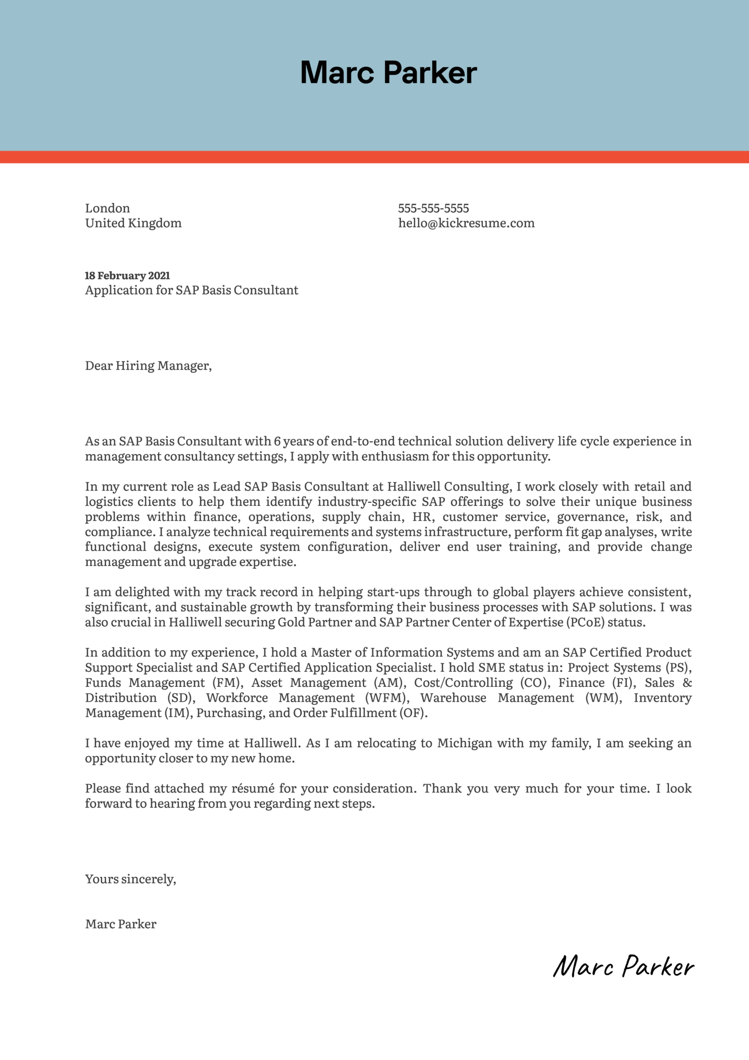 SAP Basis Consultant Cover Letter Example