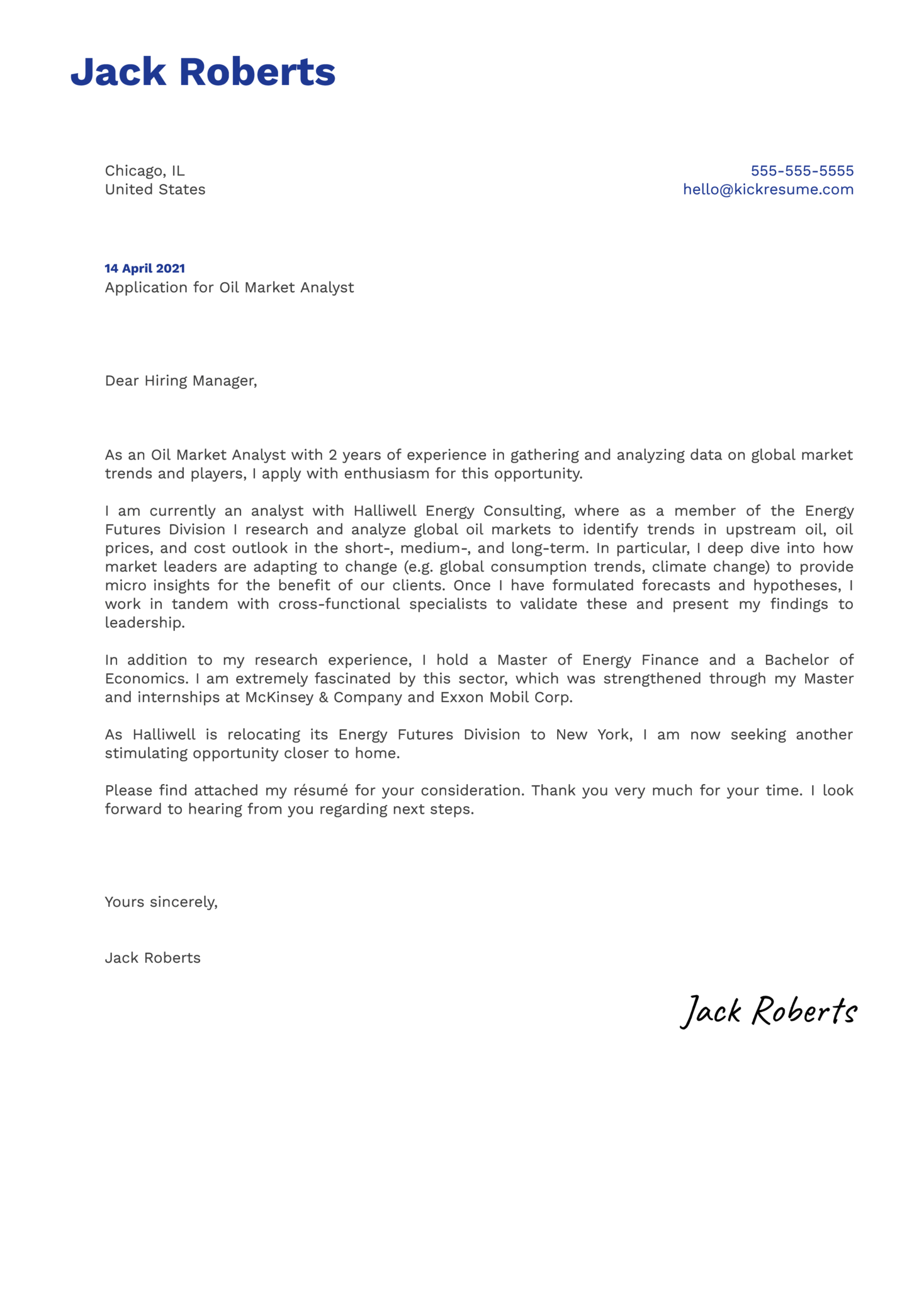 Oil Market Analyst Cover Letter Example
