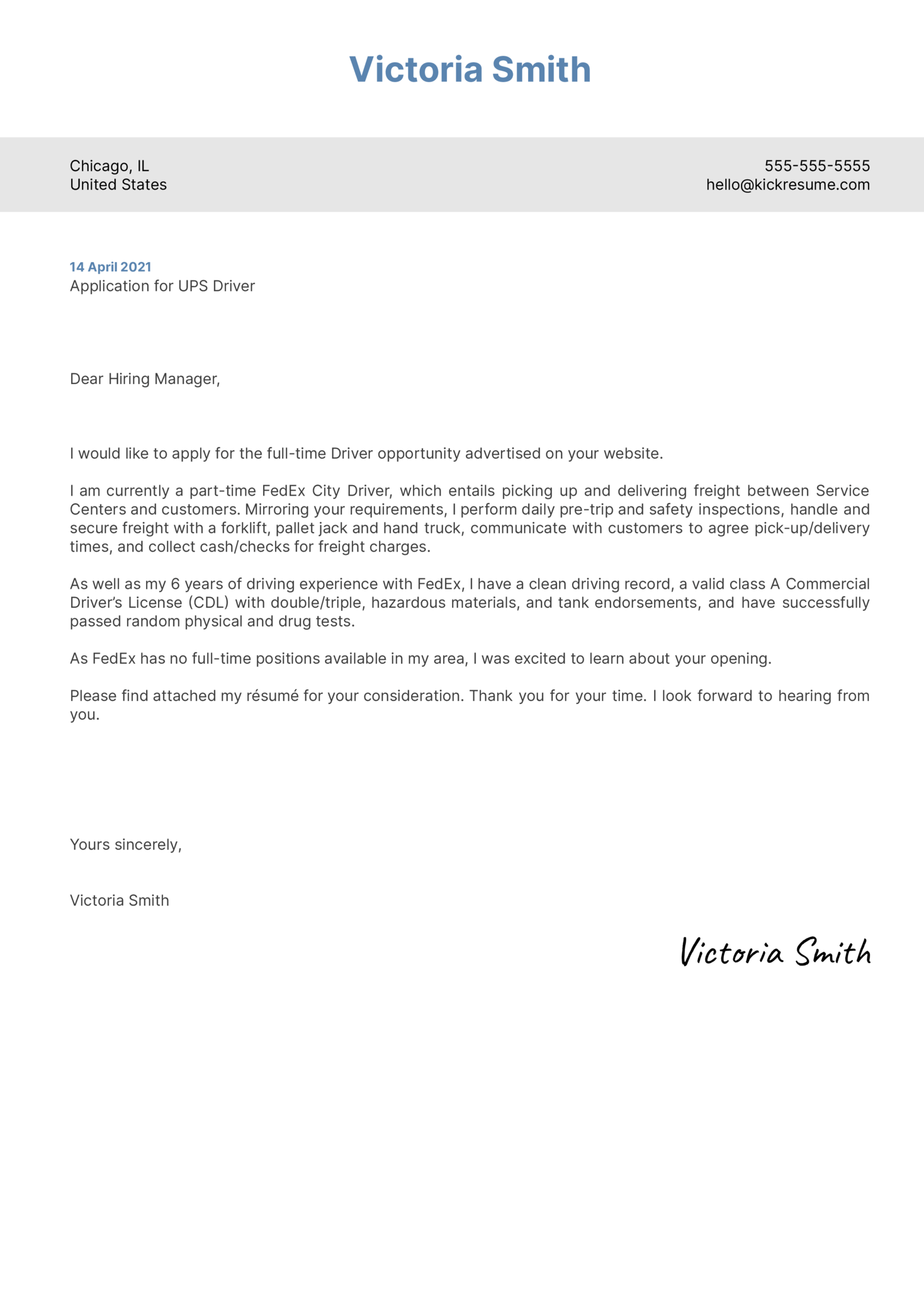 UPS Driver Cover Letter Example