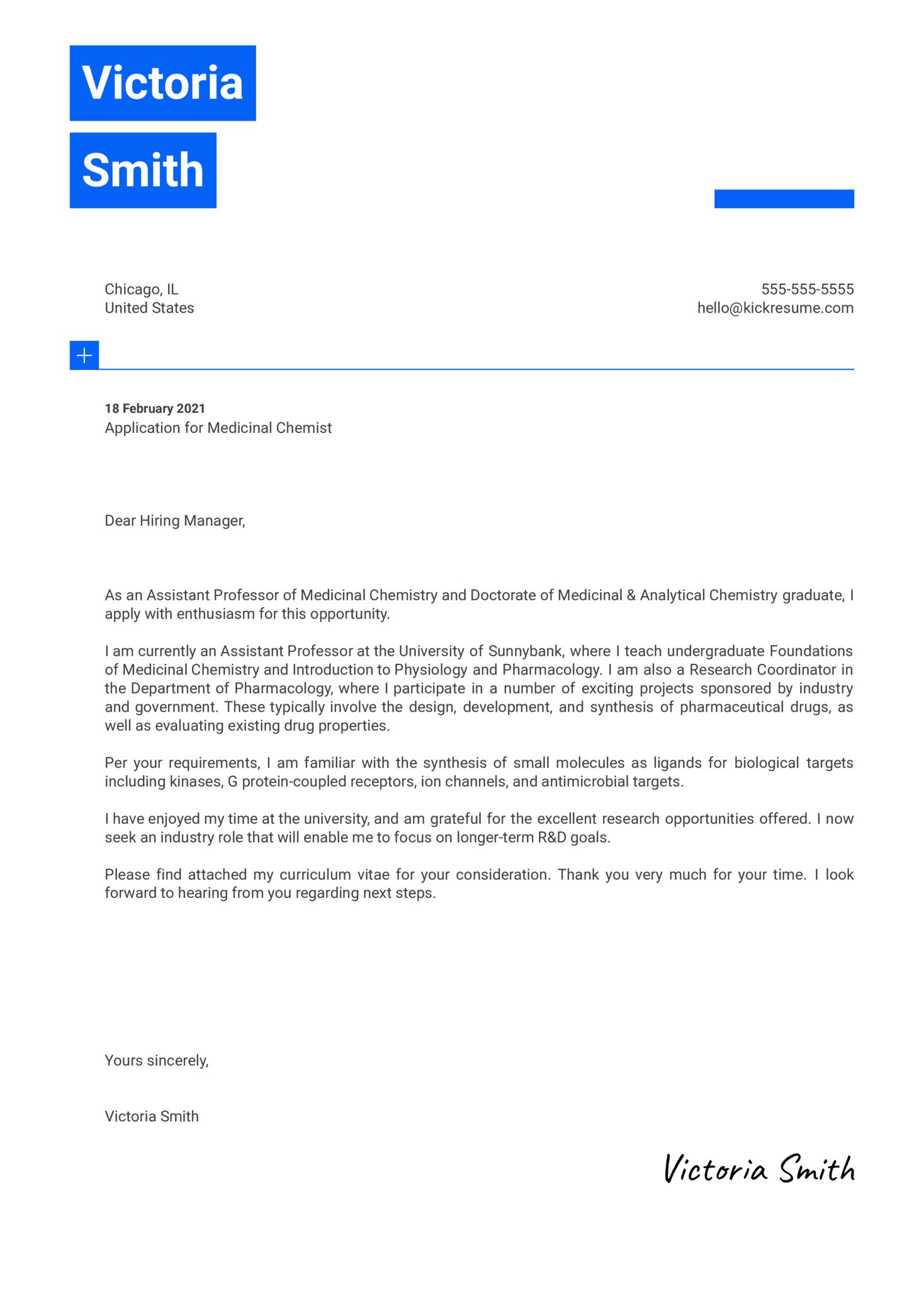 Medicinal Chemist Cover Letter Template