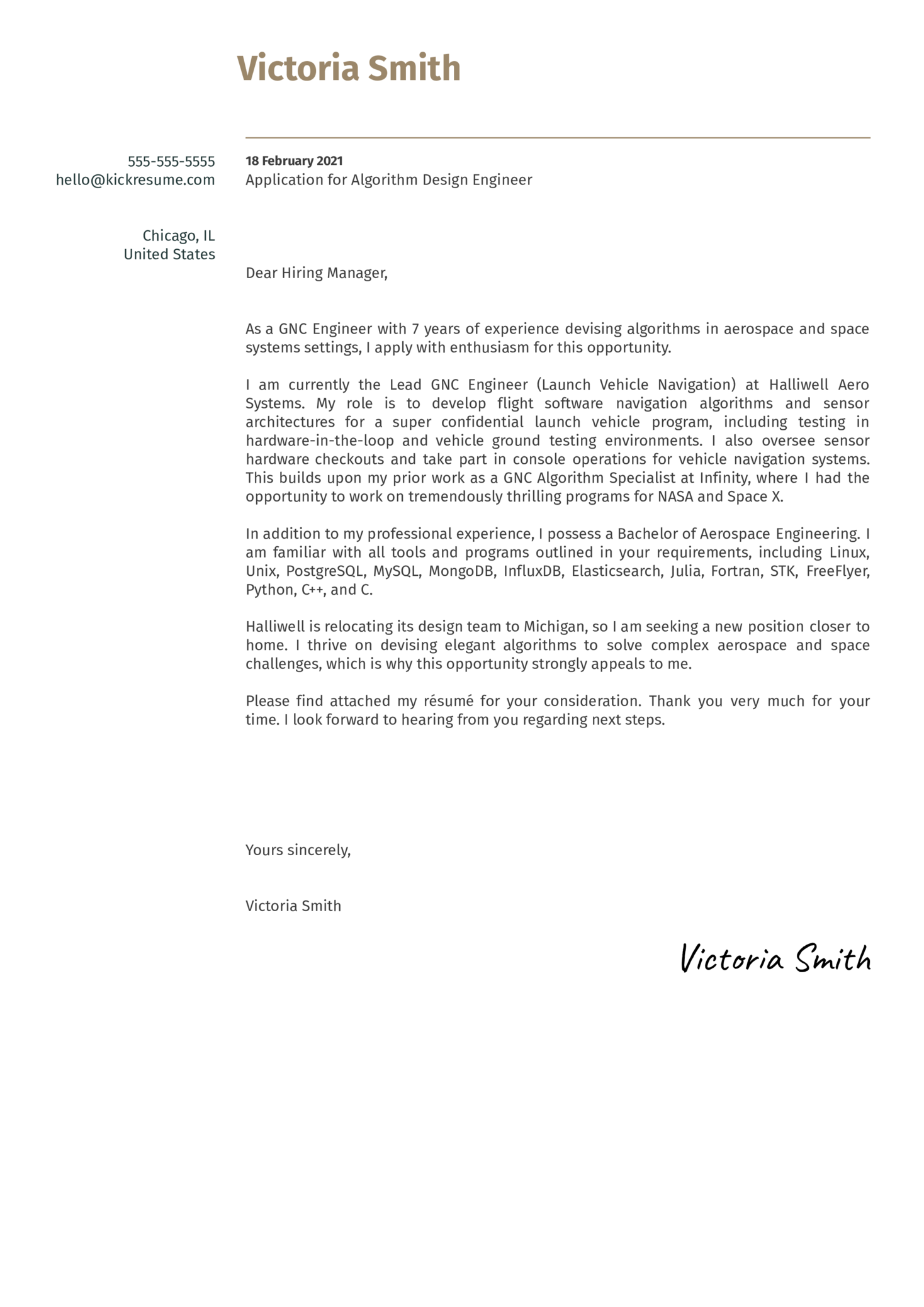 Algorithm Design Engineer Cover Letter Example