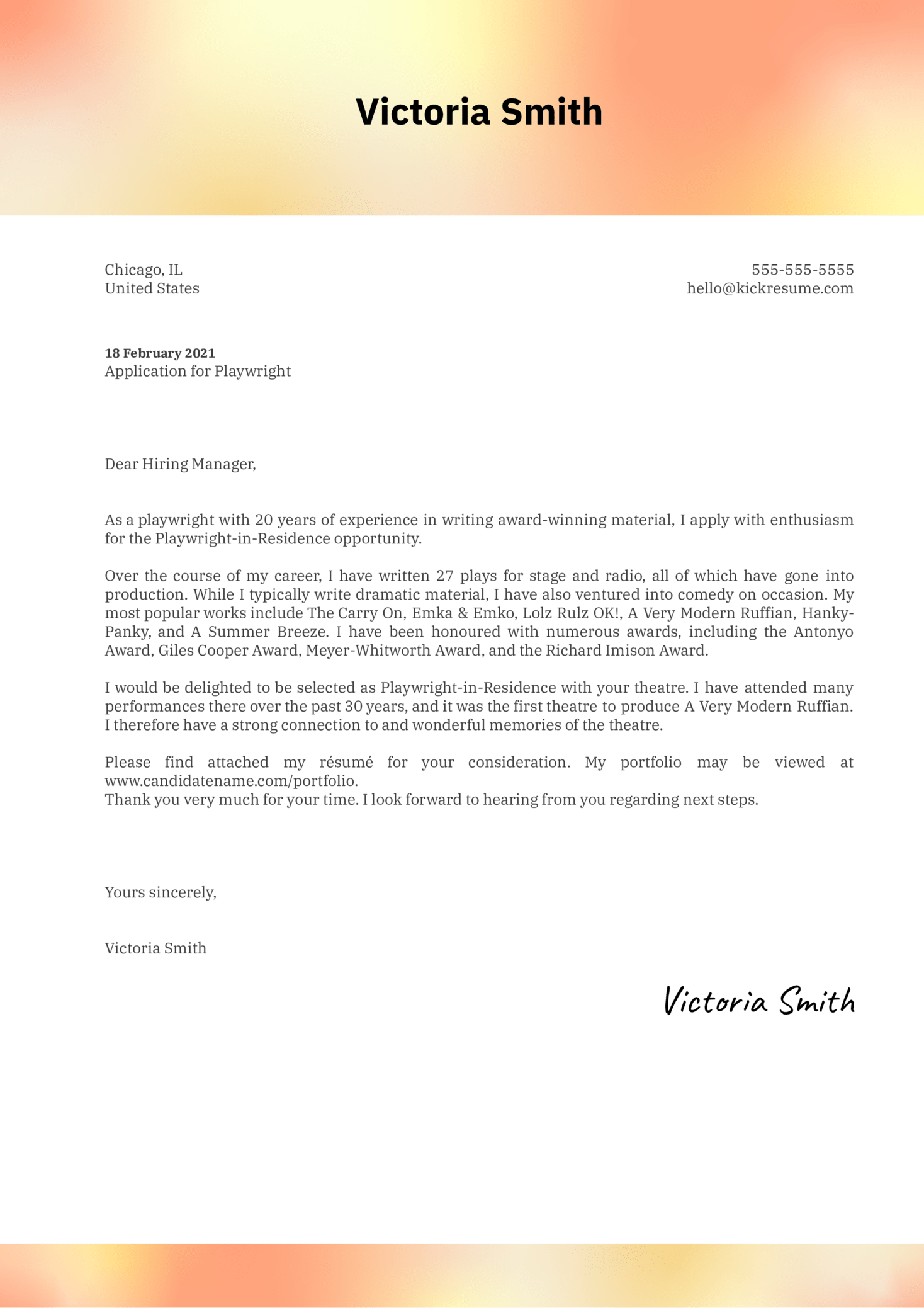 Playwright Cover Letter Sample