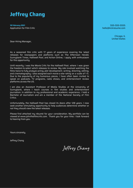 Film Critic Cover Letter Sample