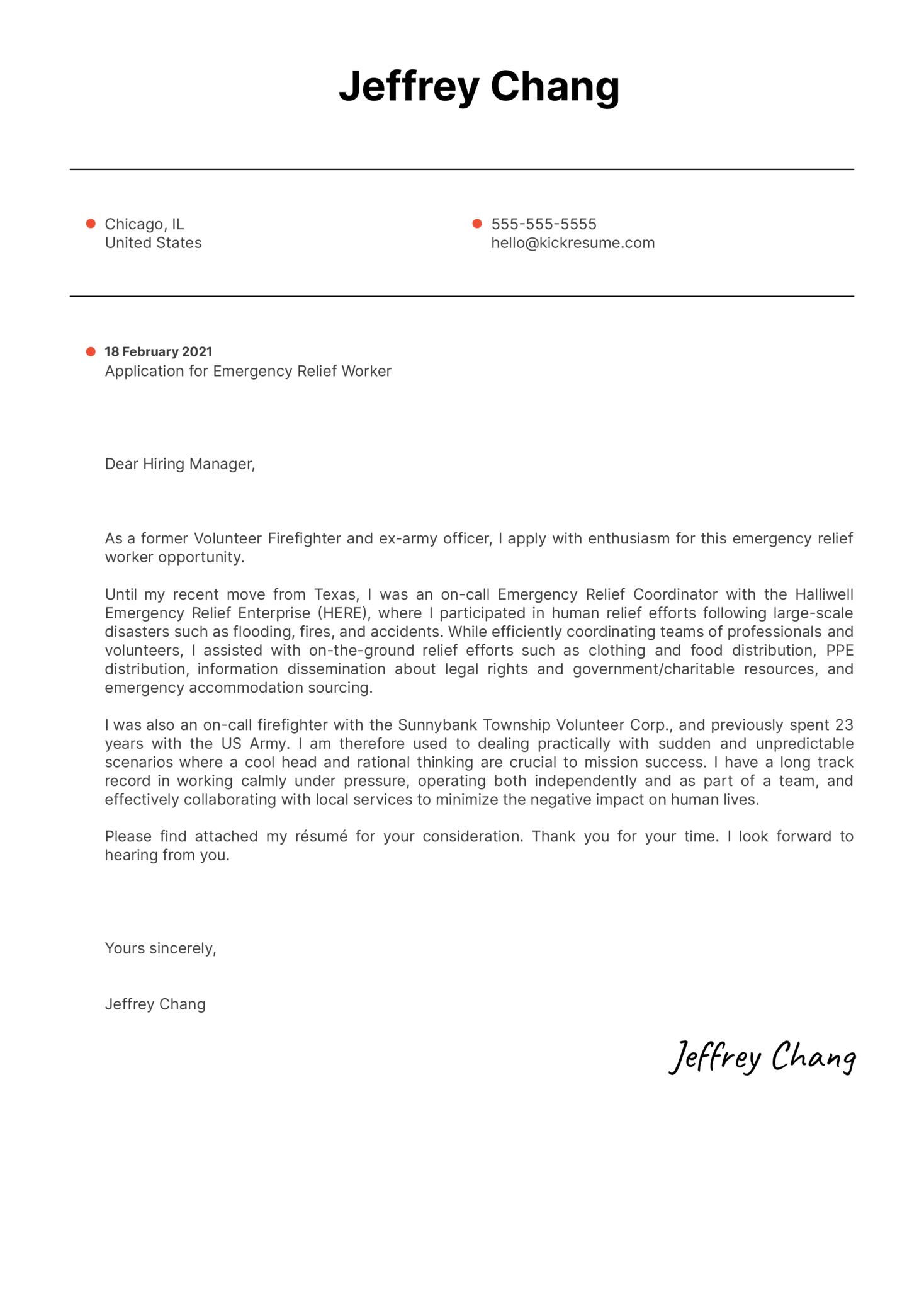 Emergency Relief Worker Cover Letter Sample