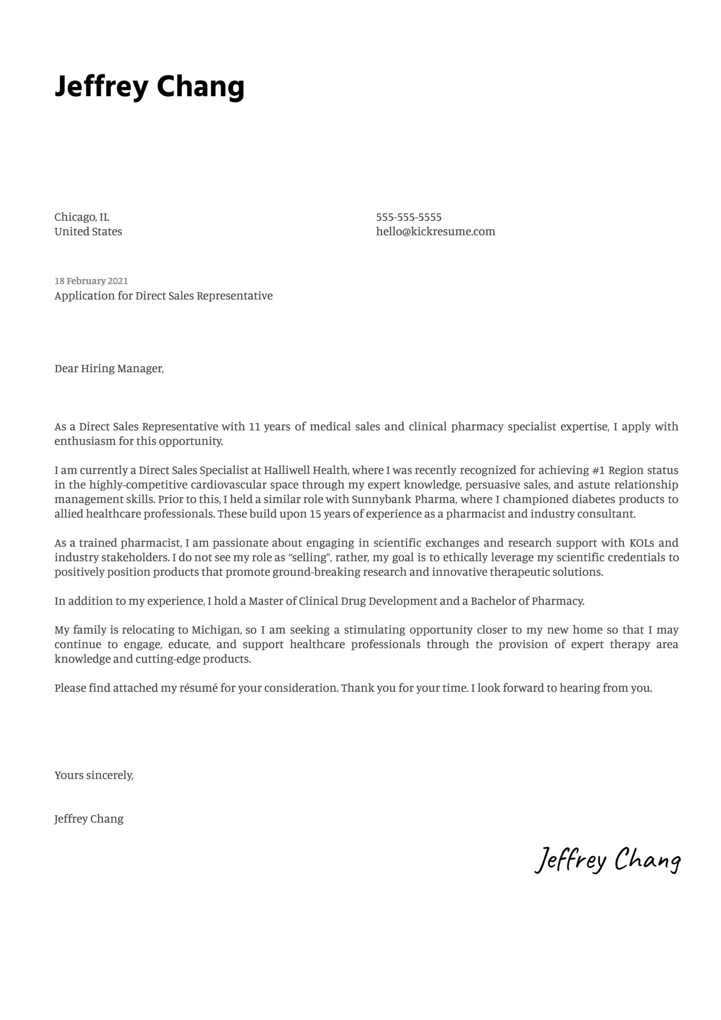 Direct Sales Representative Cover Letter Example