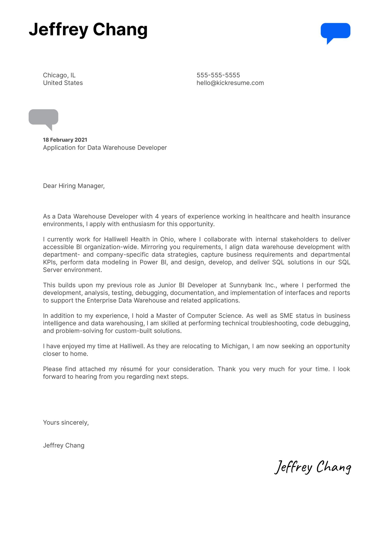 Data Warehouse Developer Cover Letter Example