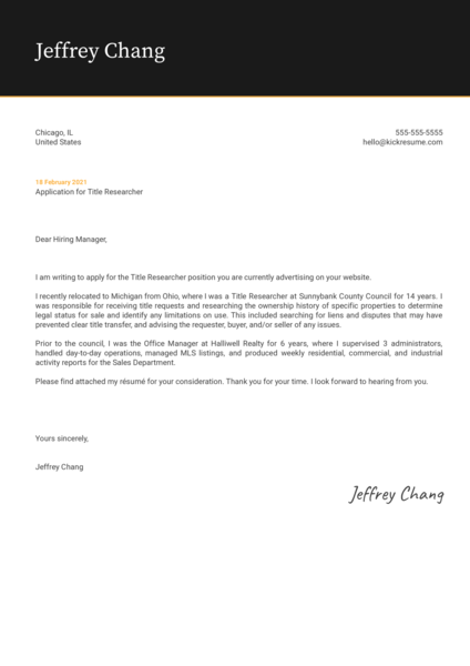 Title Researcher Cover Letter Template