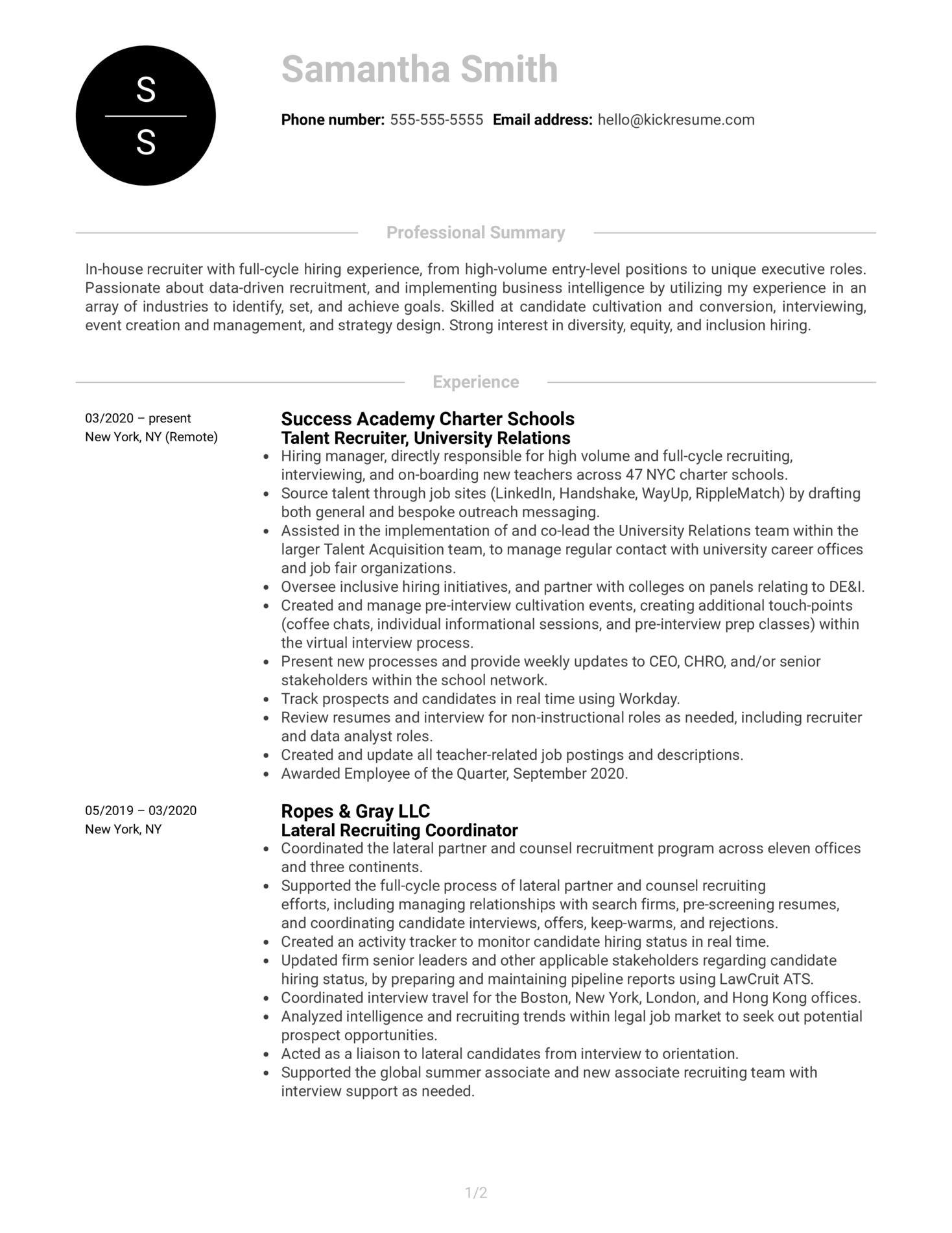 Recruiter at RapidSOS Resume Sample (Part 1)