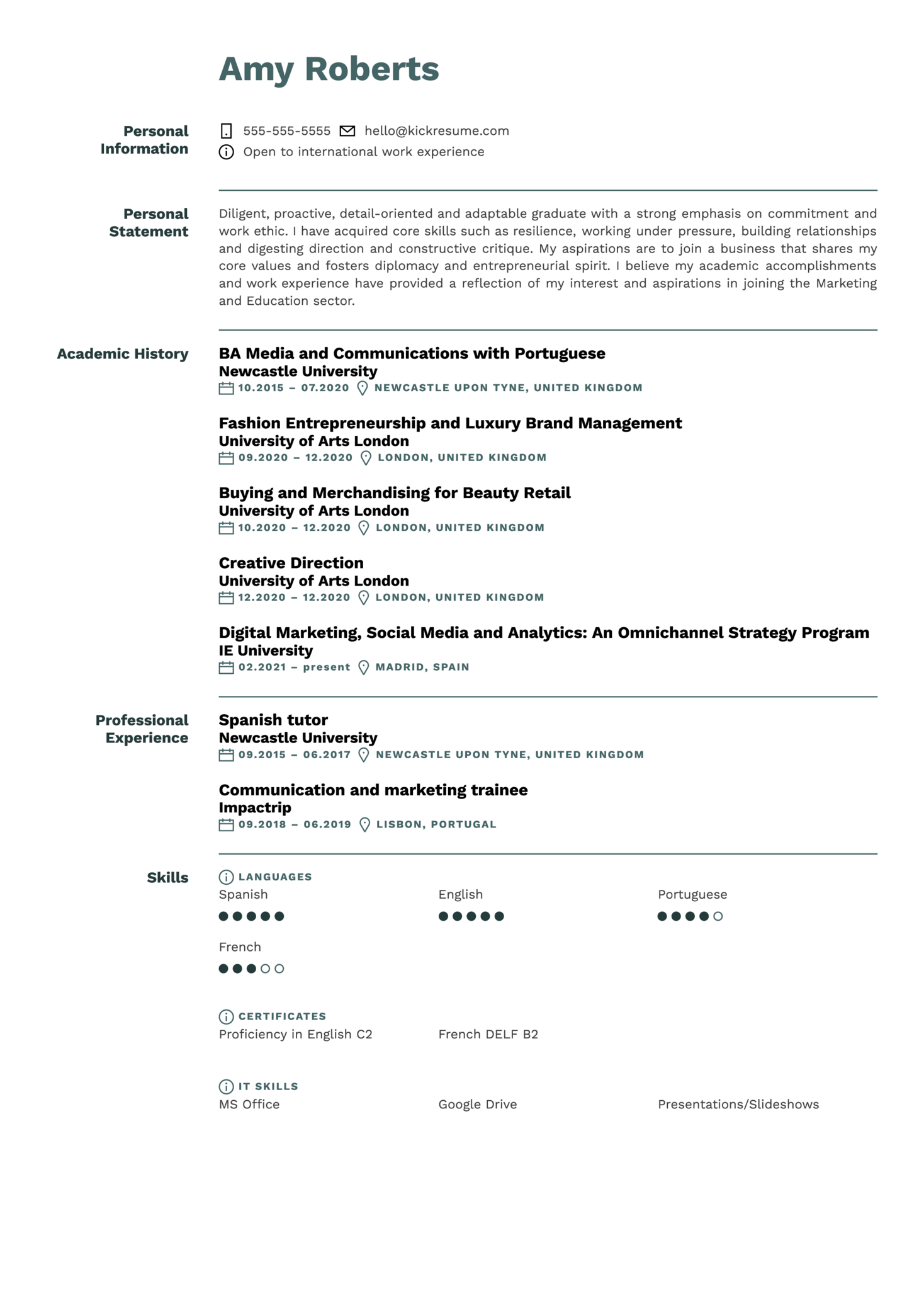 Analyst at ING Resume Sample (Part 1)
