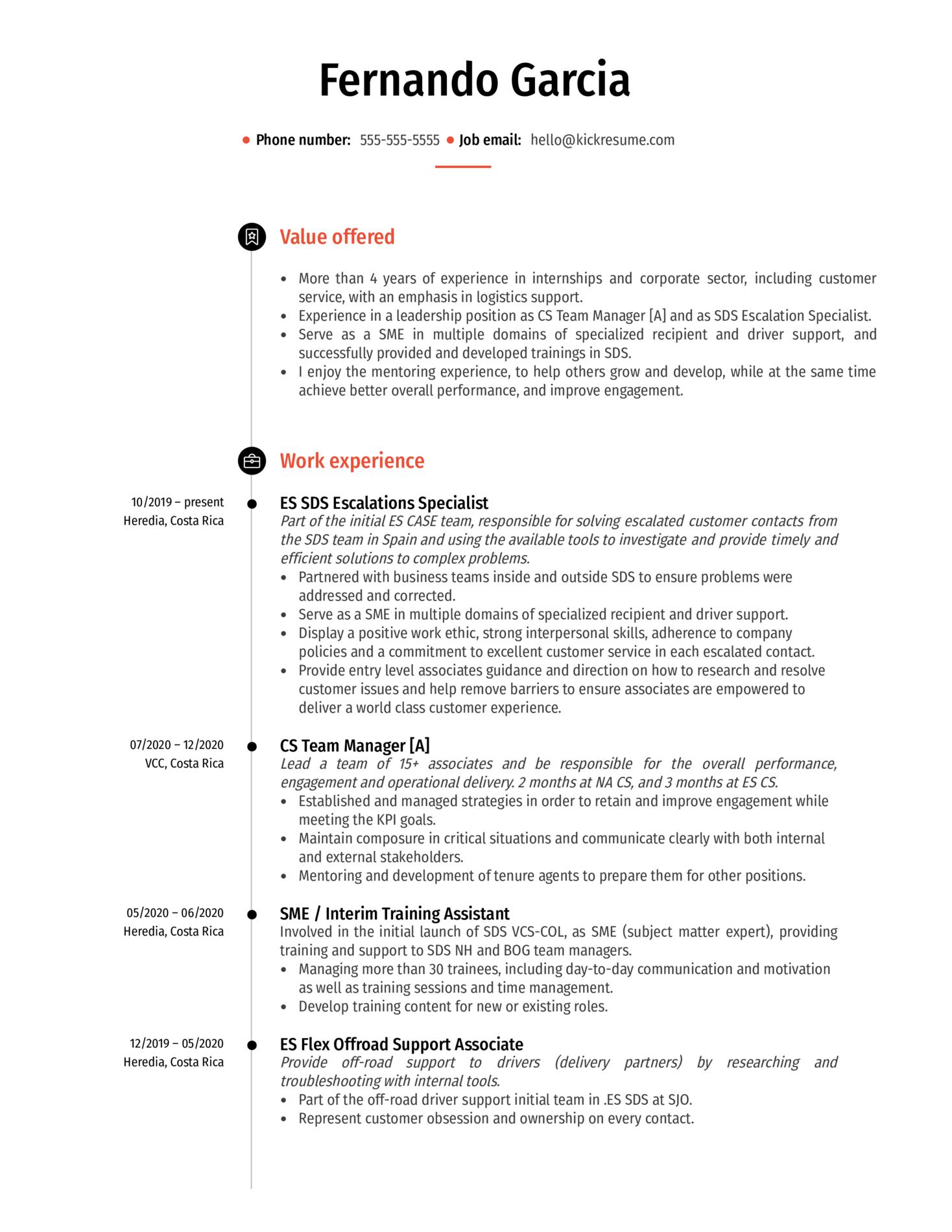 SDS Training Specialist at Amazon Resume Sample (časť 1)