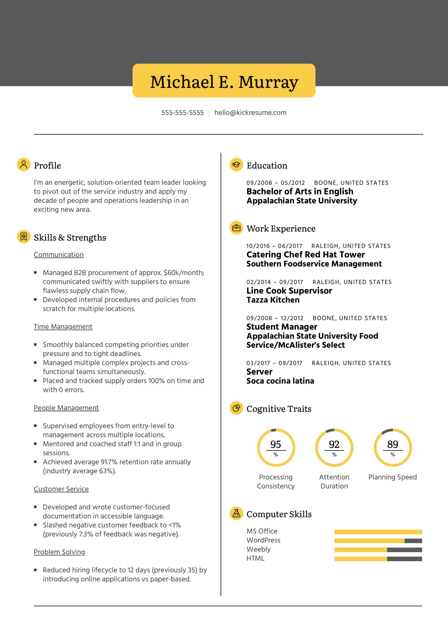 Resume Examples by Real People: Line cook supervisor CV ...