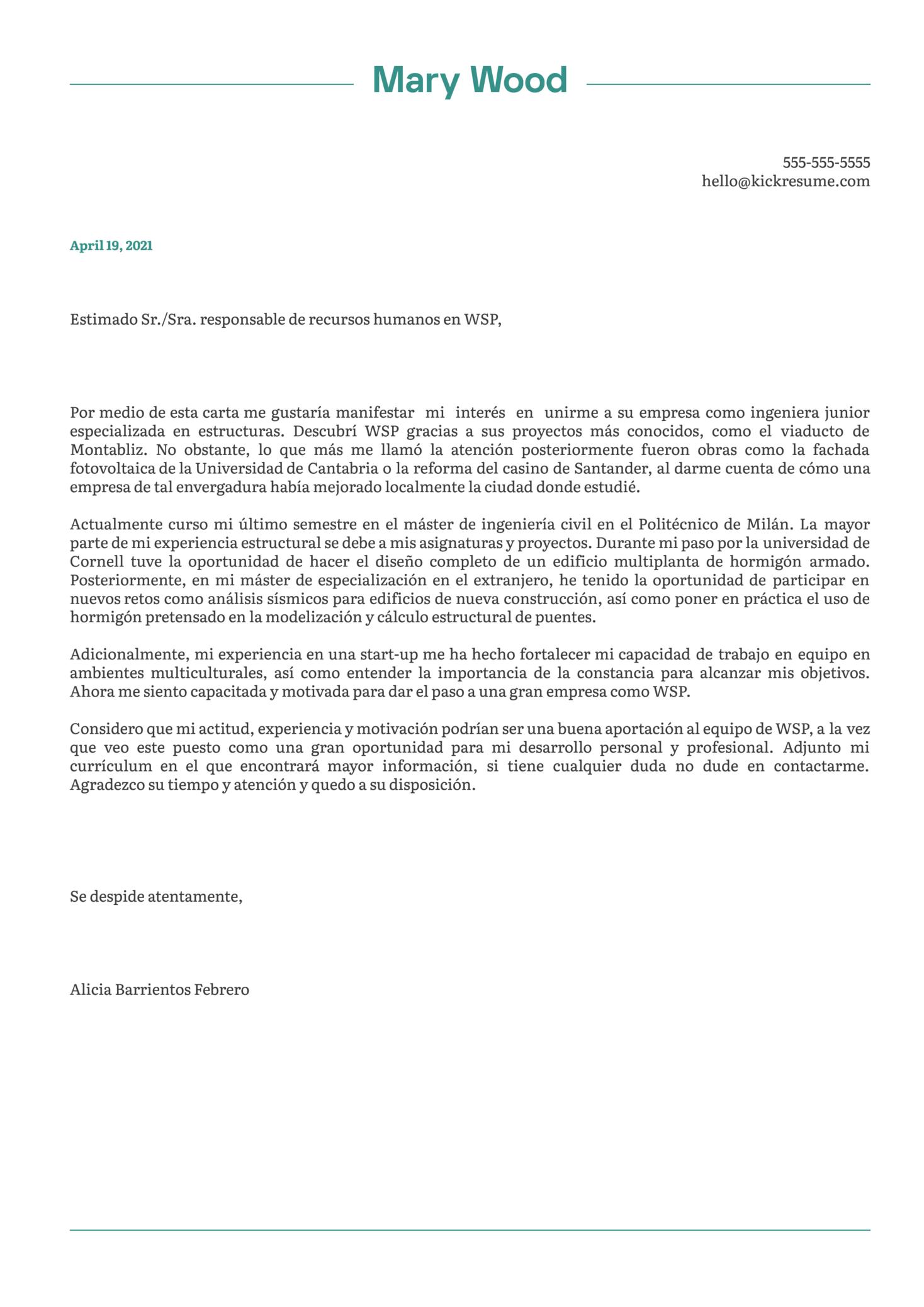 Junior Civil Engineer at WSP Cover Letter Sample [ES]