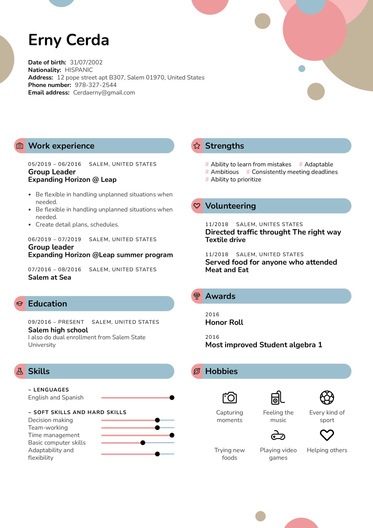Group Leader at Expanding Horizon Resume Sample (Part 1)