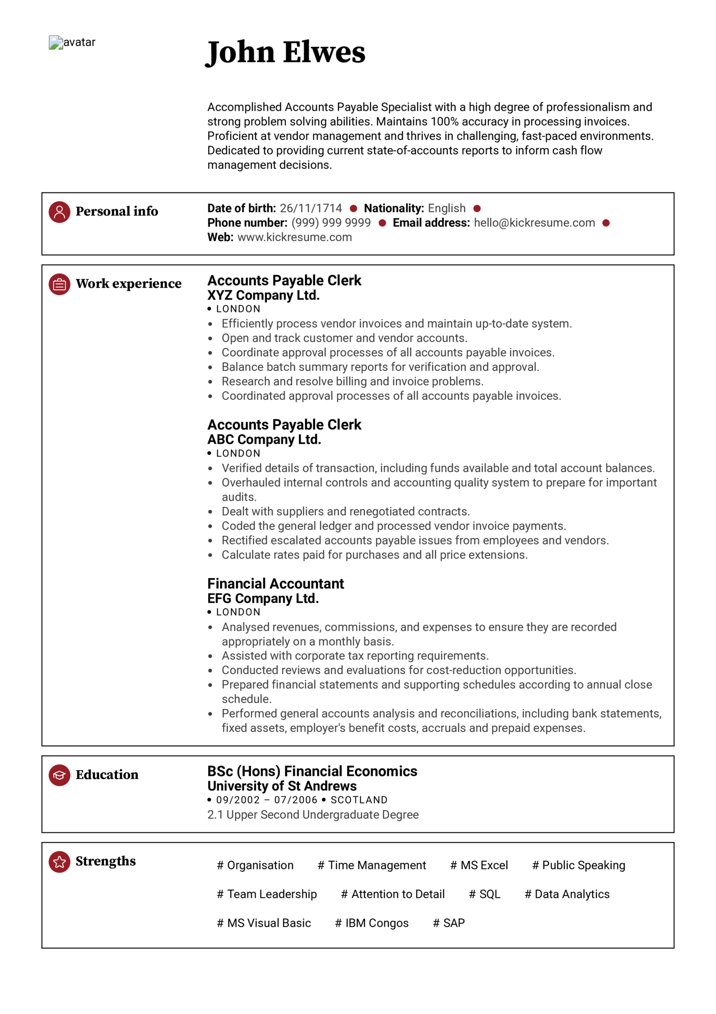 chartered accountant cv template accounting records accountant