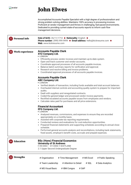 Senior Accountant CV Resume Sample