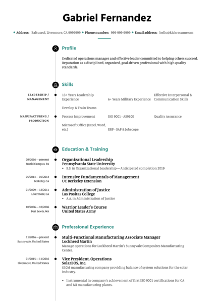 Lockheed Martin manufacturing associate manager resume sample