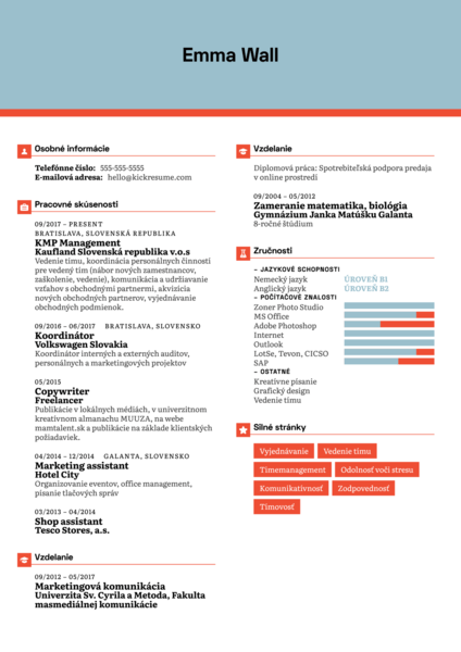 Manager at Kaufland Resume Sample [SK]