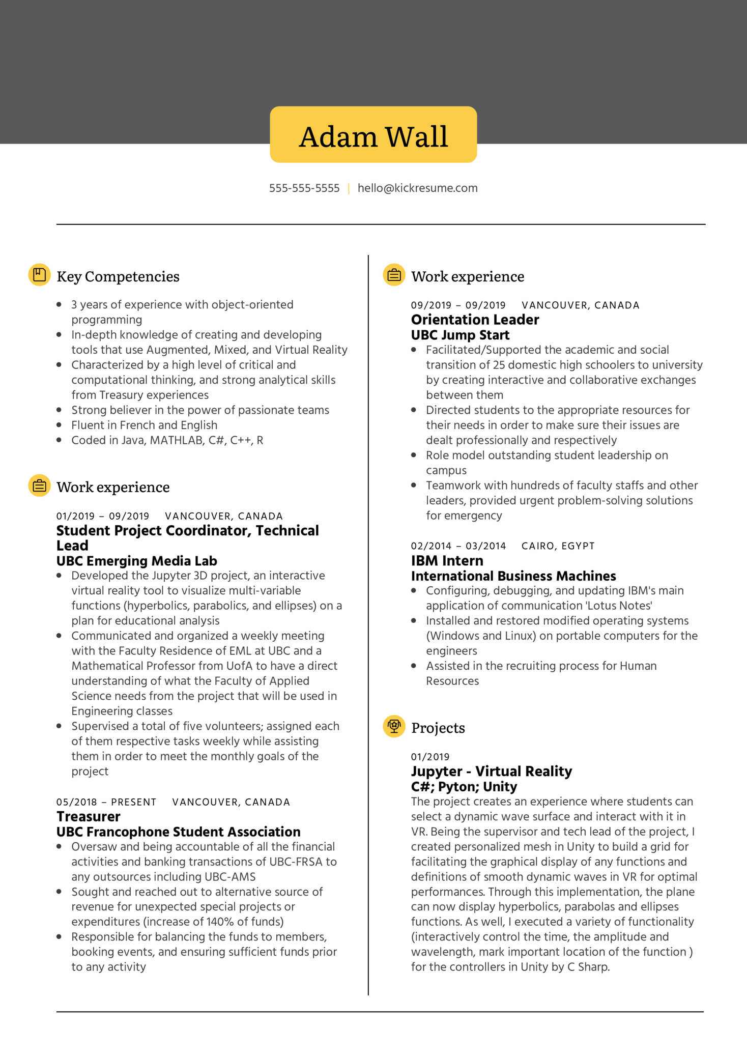 Software Engineering at UBC EML Resume Sample (Part 1)