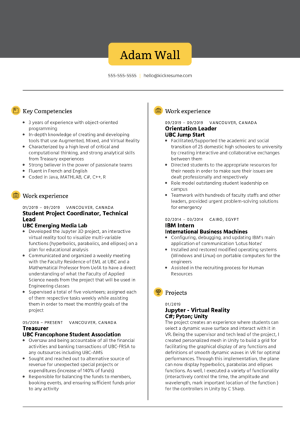 Software Engineering at UBC EML Resume Sample