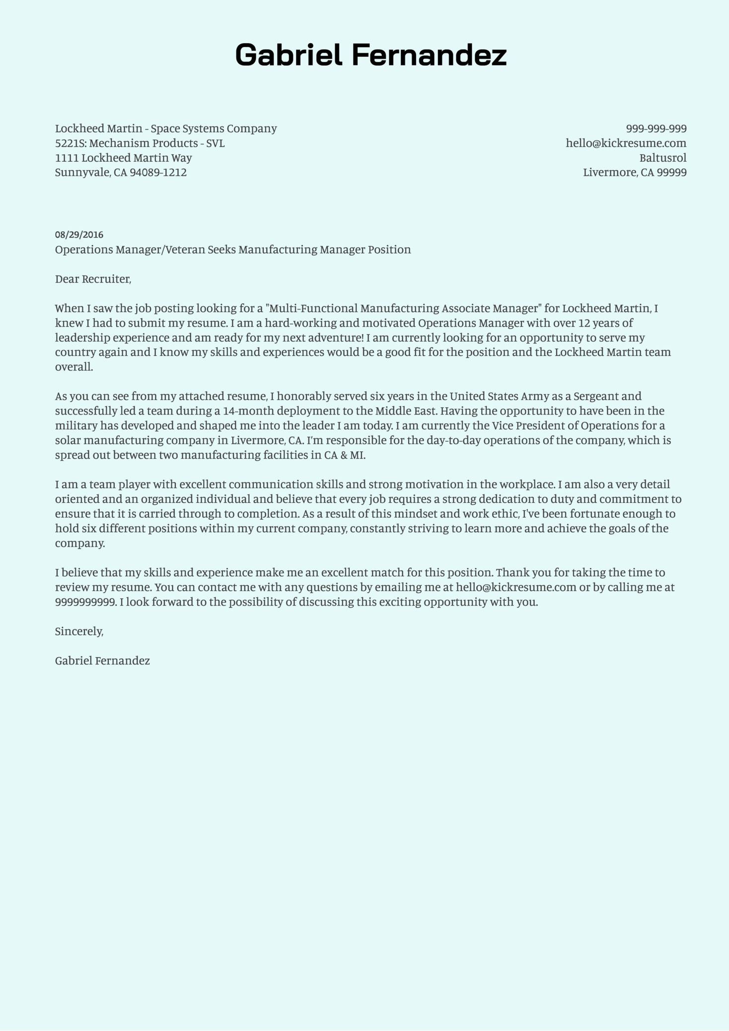 cover letter examples by real people  lockheed martin manufacturing manager cover letter